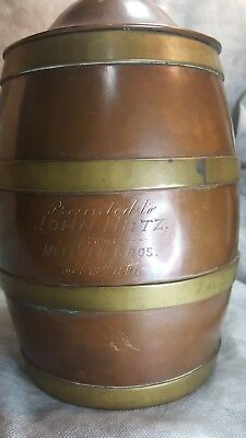 Antique PROMOTIONAL 1891 Lidded Beer Stein Mug Banded Barrel   SALES AWARD 1891!
