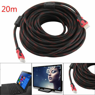 20m HDMI Kabel 1.4a High-Speed 3D Ethernet FULL HD LCD LED TV Monitor zwei Meter