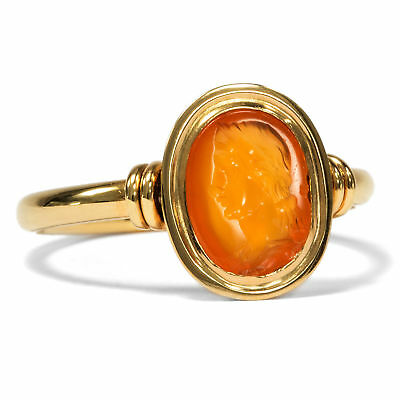 The Goddess Hera as Roman Intaglio! Seal Ring Gold Ring with Roman Gem