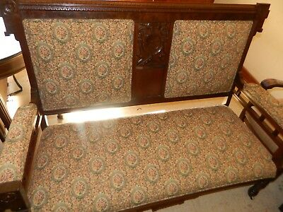Vintage Couch Settee Love Seat Wood w/ Tapestry Material