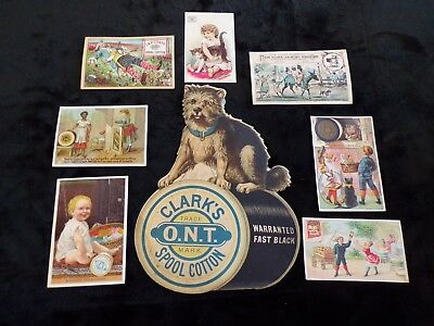 8 Antique Victorian Advertising Trade Cards Clark's O.N.T. Sign J & P Coats