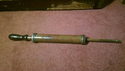 Vintage Large Brass Grease Gun Wooden Handle Superb Patina Use Or Display Item