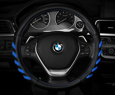 """New Black / Blue Car Steering Wheel Cover  Hand Pad buffer  Size M 14.5"""" - 15.5"""""""