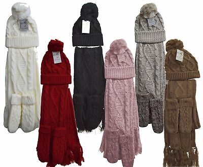 Womens Ladies Wooly Thick Knit Hat Scarf AND Gloves Set knitted Woollen