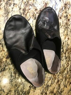 Slip on Dance Jazz Shoes Black Leather by Angelo Luzio Girls Size 6 Slip ons