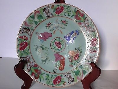 Fine Antique Chinese Porcelain Celadon Ground Rose Famille Plate Figures Marked