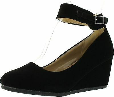 Forever Link Women's PATRICIA-03 Ankle Strap Faux Suede Wedge Pumps