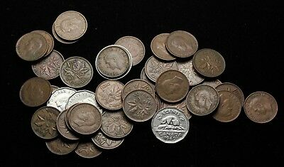 CANADA. Lot of 39 coins of George VI, 1930's, 1940's, 1950's