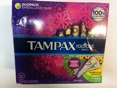 Tampax Radiant Plastic, Duopack, Unscented Tampons, 32 Tampons - Open Box