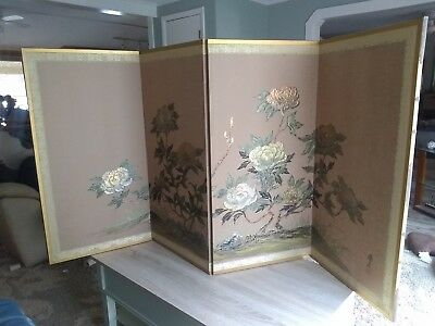 "Vintage Chinese Japanese Asian 4 Panel Folding Screen Large 36"" x 74"""