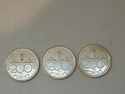 3 Hungary 200 Forint Coins 1992 Silver Hungarian