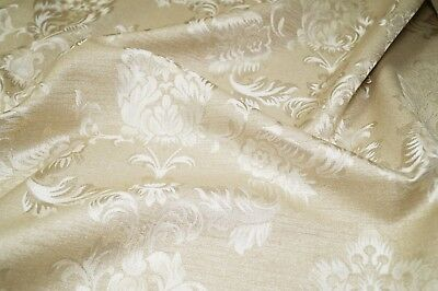 Champagne Luxury Jacquard Floral Damask Curtain Fabric Roman Blind Material