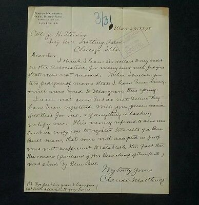 1898 Claude Matthews Autograph ~ Governor of Indiana ~ Letter to Trotting Assn