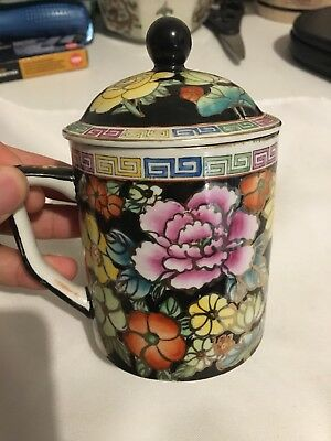 Beautiful Chinese hand painted tea cup & lid vintage stamped base Asian dish EUC