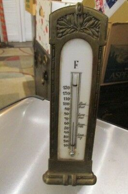 Vintage Early 1900's Era Brass Art Nouveau Thermometer On Stand