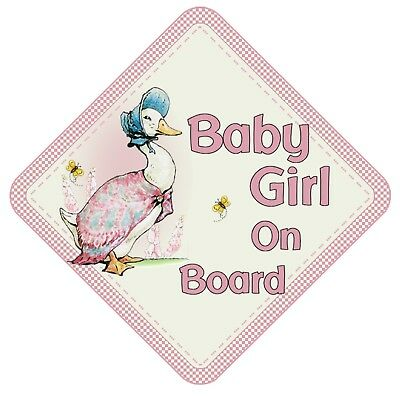Jemima Puddle Duck Baby Girl On Board Car Window Sign Non Personalised Beatrix