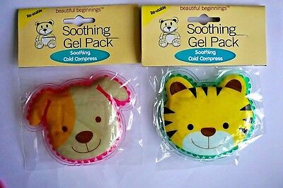 child kids soothing gel pack soothing cold compress 1 dog 1 tiger new first aid