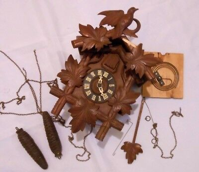 "Vintage Cuckoo Clock Parts Movement 5"" Pine Cone Weights"