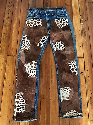 Vtg 90's Levi's Leather Patched Jeans 32 X 33 Giraffe Print Fur
