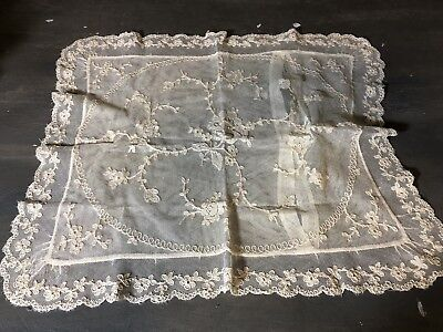 Antique white Tambour embroidered net lace boudoir pillow case