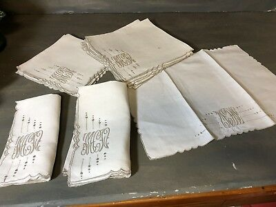 Lot of monogram placemats and napkins monogram MCW ecru