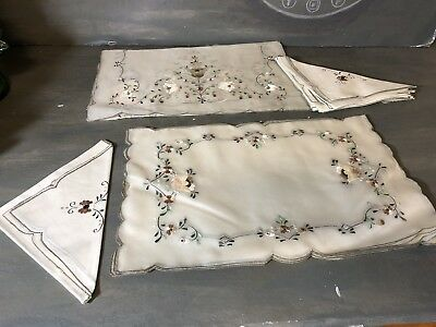 Set of vintage embroidered silk organza placemats, runner and linen napkins