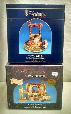 2- Fontanini Roman Fontanini Made Italy Nativity Animal Shelter & Town Well In B