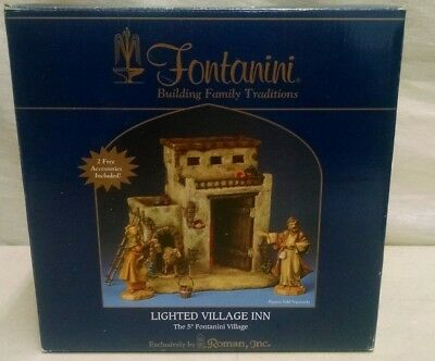 Fontanini Roman Fontanini Made Italy Nativity 55548 Lighted Village Inn In Box