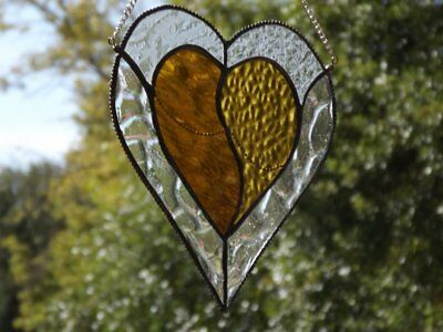 •HEART OF GOLD/Iredesent Clear   • Handmade Suncather - Stained Glass