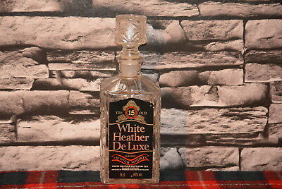 White Heather De Luxe Blended Scotch Whisky Decanter Glas Leer  #c0489