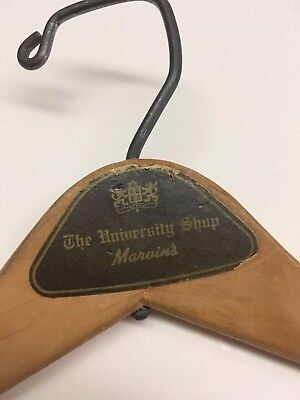 Vintage Advertising Wooden Clothing Suit Hanger The University Shop Marvins