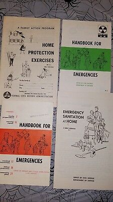 4 Pamphlets , Civil Defense Emergencies Booklet Atomic Fallout, Sanitation, Home