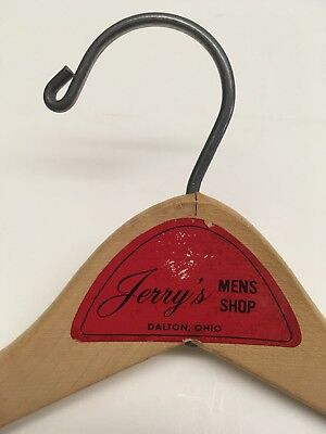 Vintage Advertising Wooden Clothing Suit Hanger Jerrys Mens Shop Dalton Ohio