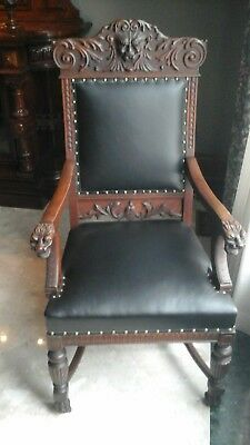 8 Antique chairs oak hand carved American Victorian 6 side 2 arm original finish