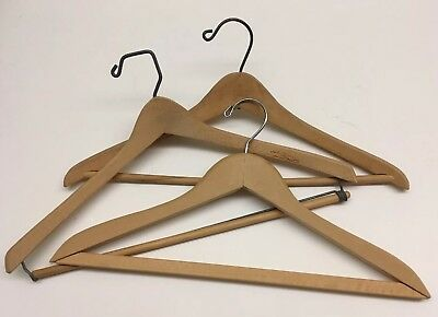 Lot of 3 vintage wood wooden Coat or Clothes Hangers
