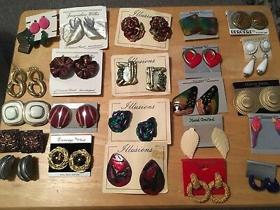 Vintage Jewelry -   Lot of 25 pairs of earrings, most new on cards