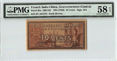 French Indo-China ND (1939) P-85e PMG Choice About UNC 58 EPQ 10 Cents
