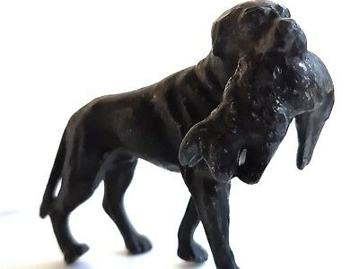 Antique Vintage Pewter Cast Cold Painted Metal Dog Hunting Ornament Weimaraner