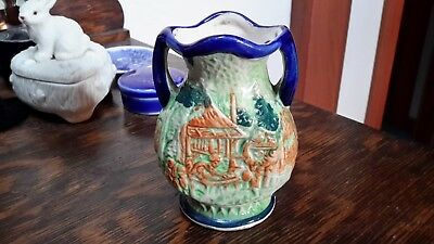 Vintage Japanese Majolica Pottery Small Handpainted Two-Handle Vase Cobalt Rim