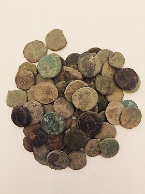 70 Uncleaned Roman coin bronze coins as found.