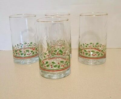 4 Vintage ARBY 'S 1984 Christmas Collection Holly & Berries Tumblers/ Glasses