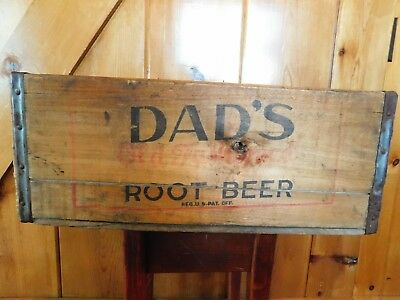 "Vintage DAD'S ROOT BEER WOOD CRATE / OLD FASHIONED / 19 1/2"" X 12 3/4"" X 8"""