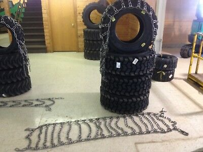 Skid Steer 10-16.5 Tire Chain Traction Snow Ice 10x16.5 2Link Pair Case Hardened