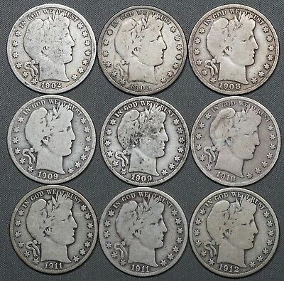 1902 - 1912 Barber Silver Half Dollars 50c, (9) Coins