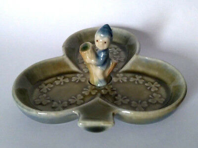 WADE 1970s Derivative BABY PIXIE ON SHAMROCK LEAF DISH Circa 1978-1980s