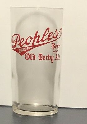 Peoples Old Derby Pale Ale beer glass shell glass Oshkosh  wi