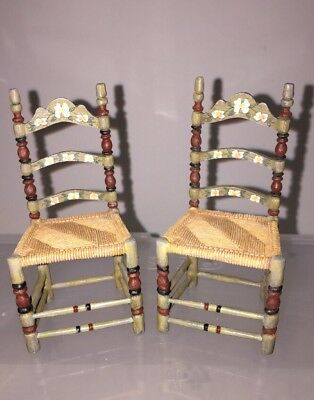 Dollhouse miniatures Furniture Raine Take A Seat  Chair Folkloric Lot of 2 NEW