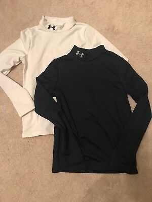 Lot of 2  White/Navy Under Armour  Long Sleeve Shirts Youth Small Cold Gear