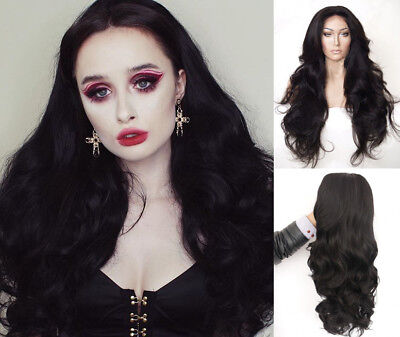 "AU 24"" Off Black GlueLess Lace Front Wig Fashion Long Wavy Heat Resistant Hair"