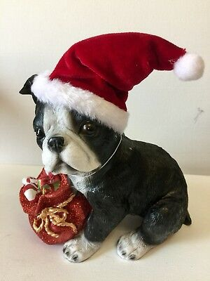 Boston Terrier With Hat And Christmas Presents